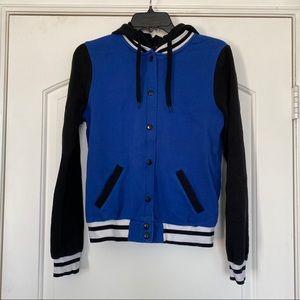 Forever 21 Black Blue & White Varsity Hood Jacket